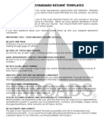 INROADS Standard Resume Templates