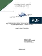 Optimizacion del sistema hidraulico de lubricacion
