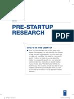 Prestart Up Research