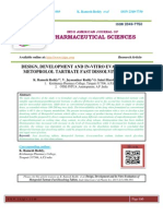 DESIGN, DEVELOPMENT AND IN-VITRO EVALUATION OF METOPROLOL TARTRATE FAST DISSOLVING TABLETS K. Ramesh Reddy*, V. Jayasankar Reddy, G. Saisri Harsha, K.Anil