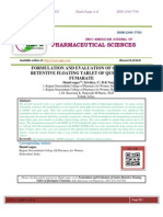 FORMULATION AND EVALUATION OF GASTRO-RETENTIVE FLOATING TABLET OF QUETIAPINE FUMARATE Shanti sagar*, Srividya. L, B.K Nanjawade