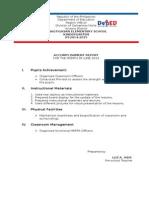 Accomplishment Report PINAGTIGASAN KINDER