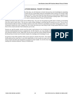 Solutions Manual Theory Of Shells Pdf Portable Document Format E Books