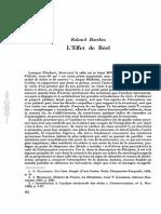 Roland Barthes, 'L'Effet de Réel', Communications, n. 11, Mars 1968, Pp. 84-89