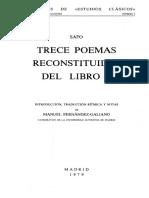 Trece Poemas Reconstituidos Del Libro I - Safo