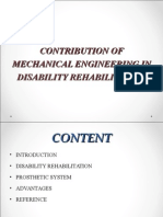 Contribution of Mechanical Engineering in Disability Rehabilitation