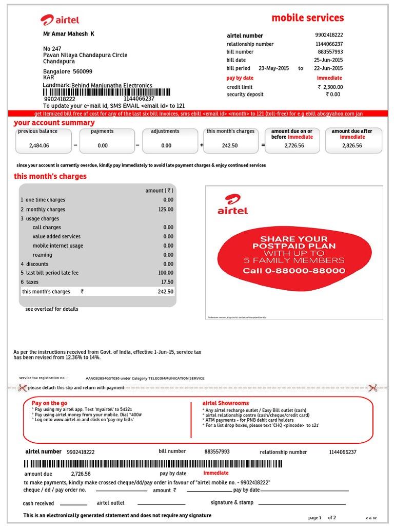 mobilebill airtel format