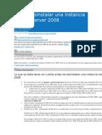 Cómo Desinstalar Una Instancia de SQL Server 2008