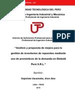 Scribd Espichán Jhon Análisis Propuesta Pronósticos Gestión de Inventarios