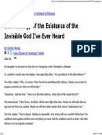 Best Analogy of the Existence of the Invisible God I'Ve Ever Heard