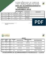 Cronograma de Acompanhamento Pedagógico Novembro