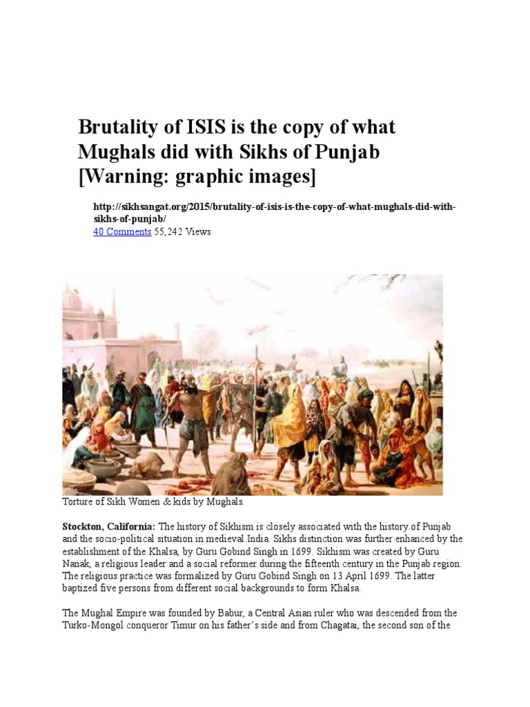 Brutality of ISIS is the Copy of What Mughals Did With Sikhs of