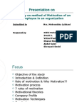 A study on method of Motivation of an employee in an organization