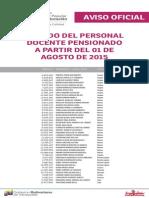 Lista de Docentes Pensionados ME Agosto 2015 - Notilogia