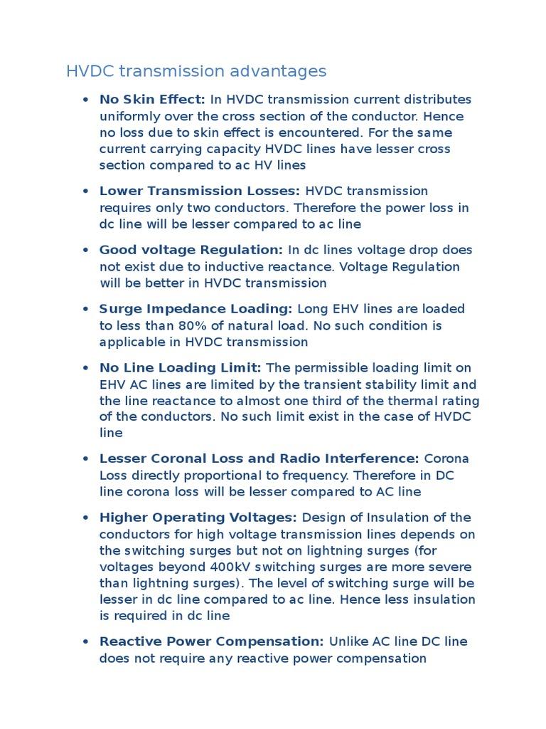 HVDC Transmission Advantages | High Voltage Direct Current