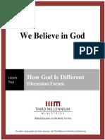 We Believe In God - Lesson 2 - Forum Transcript