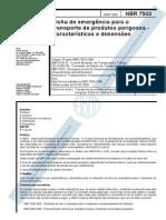 ABNT  7503 Ficha de Emergência Para o Transporte de Produtos Perigosos - Características e Dimensões