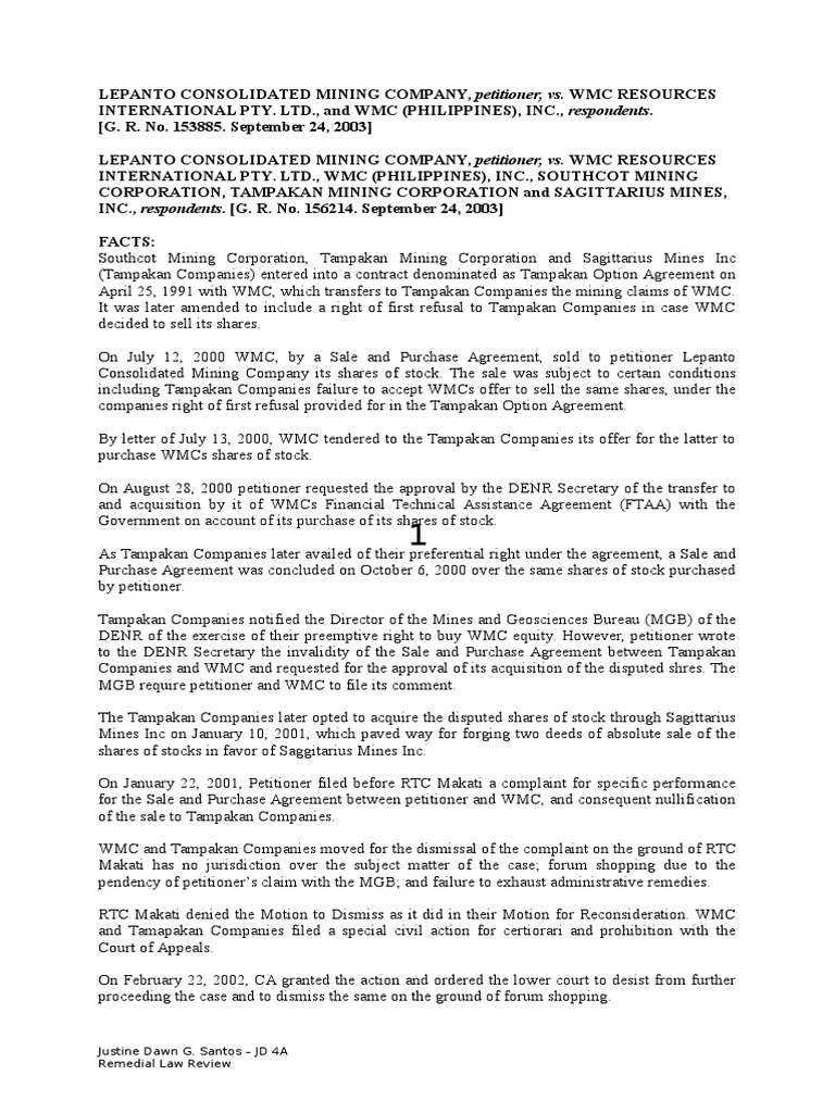Lepanto Consolidated Novelty Philippines Remedial Law Review