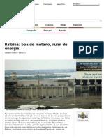 Balbina_ Boa de Metano, Ruim de Energia