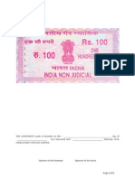 Service Agreement for 100 Stamp Paper