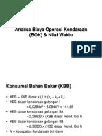 Analisa Biaya Operasi Kendaraan (BOK) & Nilai Waktu