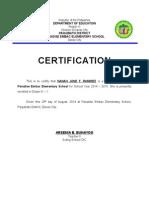 Certification for Enrolment 2015