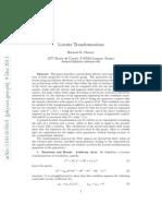 Lorentz Transformations Bernard r Durney