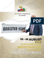 Registration Points for Supplementary Registration of Voters Namibia 2015