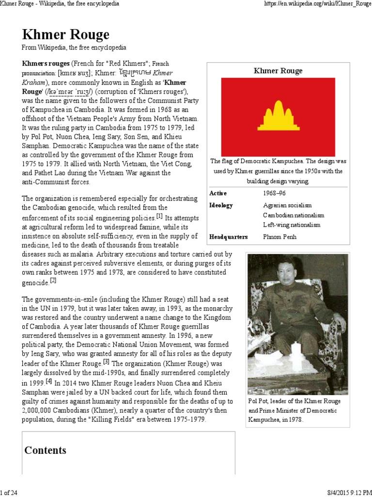 Khmer Rouge - Wikipedia, The Free Encyclopedia | Khmer Rouge | Pol Pot