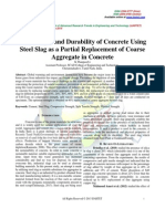 Strength and Durability of Concrete Using Steel Slag as a Partial Replacement of Coarse Aggregate in Concrete