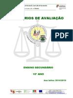 Criterios de Avaliacao 10 ANO