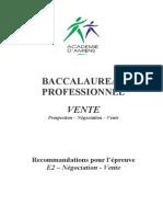 Recommandations e2 Bac Pro Vente