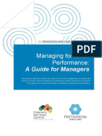 Managing for Good Performance a Guide for Managers