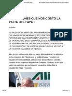 LOS MILLONES QUE NOS COSTÓ LA VISITA DEL PAPA |