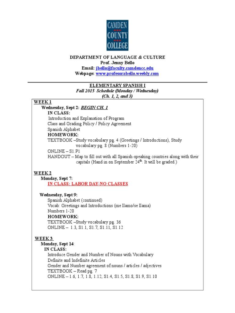 New2015fall Spa101 Mw Syllabus Test Assessment