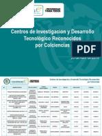 Lista Oficial de Centros Reconocidos Por Colciencias 2014