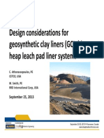 Design considerations for geosynthetic clay liners (GCLs) in heap leach pad liner systems