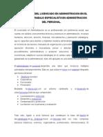 PARTICIPACION DEL LICENCIADO EN ADMINISTRACION EN EL MERCADO DE TRABAJO ESPECIALISTA EN ADMINISTRACION DEL PERSONAL.