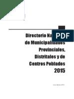 Directorio Munis Prov Dist y Cen Pob 2015