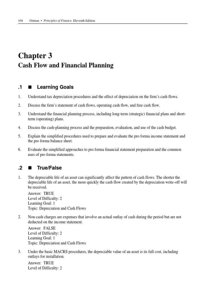 The depreciable cost of an asset is - Ch 3 Bankchapter Ch 3 Test Bank Quiz Homework Questions Gitman Principles Of Finance Management Cash Flow Statement Depreciation