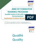 Programme Du Cycle de Formation QHSE Conseil SepOctNov2014