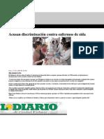 Acusan discriminación contra enfermos de sida