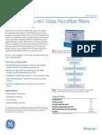 Whatman 934 Ah Glass Microfiber Filters Tech Sheet