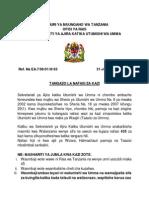 Tangazo La Kiswahili 31.Julai.2015