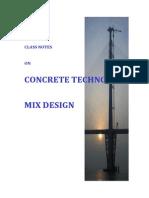 Class Note Concrete Mix Design