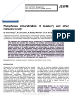 Phosphorus mineralization of bioslurry and other manures in soil