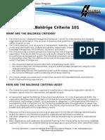 The Baldrige Criteria 101