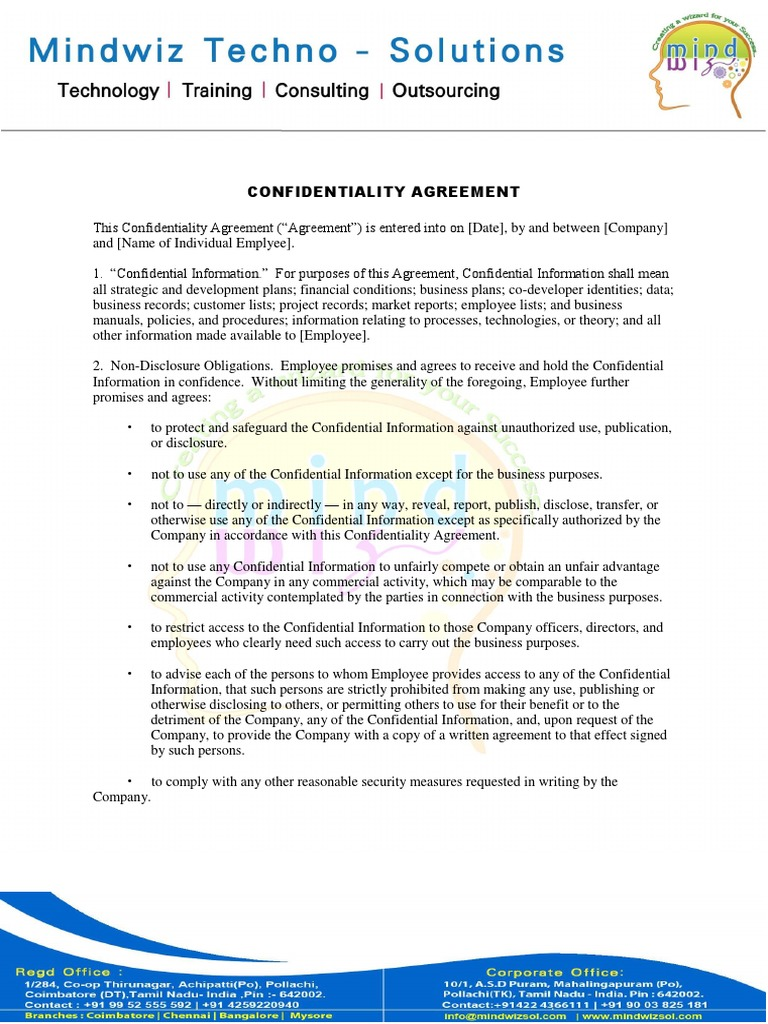 Confidiantiality Agreement Non Disclosure Agreement Confidentiality