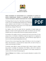 PRESS STATEMENT ON APPOINTMENT OF KISHUSHE MINING TASKFORCE BY CS BALALA