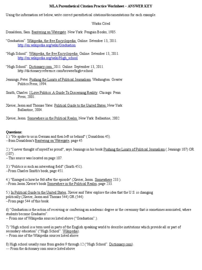 Uncategorized Mla Citation Worksheet mla parenthetical citation practice worksheet answer key